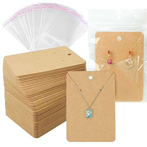 Earring Cards Necklace Display Cards with Bags,150 Earring Display Cards, 150 Pcs Self-Seal Bags, Kraft Paper Tags for DIY Ear Studs(Brown)