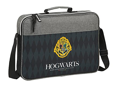 Safta Cartera Extraescolares de Harry Potter Hogwarts, 380x60x280 mm, Negro/Gris