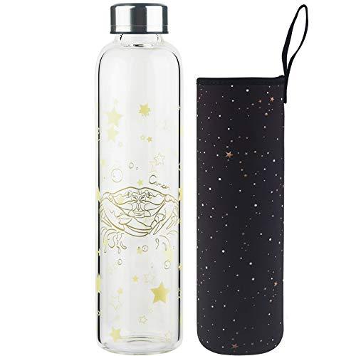 DEARRAY Botella de vidrio borosilicato con estampado de 12 constelaciones 500ml / 1000ml / 1 Litro, Botella de Agua de Cristal con Funda de Neopreno y Elegante Tapa de Acero Inoxidable(Cáncer,500ml)