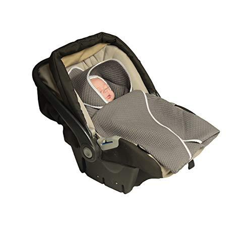 MoMika Einschlagdecke, Universal für Babyschale, Autositz, für Kinderwagen, Buggy oder Babybett, aus Waffelpique (Grey)