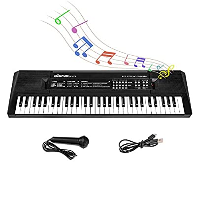 M SANMERSEN Kids Music Piano Keyboard, 61 Keys Piano Keyboard Toys with Microphone Portable Mono Electronic Piano Keyboard Teaching Piano Toy Gift for Beginners Boys Girls Ages 3-12, Black