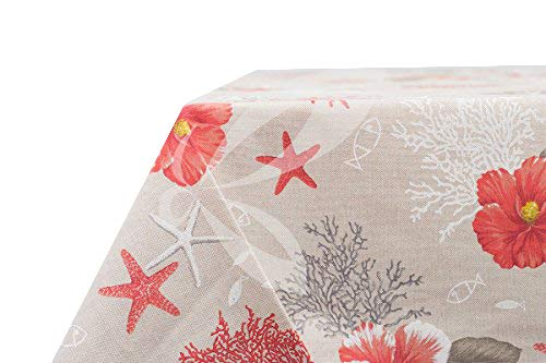 Mantel resinado para cocina, antimanchas, modelo Capri, estilo country chic provenzal, color coral,cuadrado, 140x 140 cm