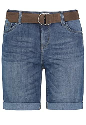 Sublevel Damen Jeans Bermuda-Shorts mit Veloursleder Gürtel Middle-Blue M