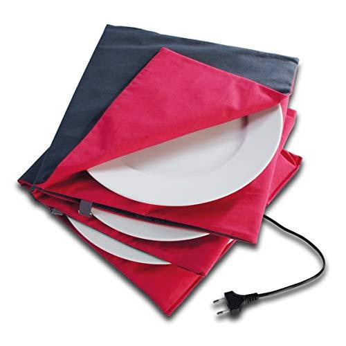 Solis Tellerwärmer Maxi Gourmet 865 - Bis 10 Teller mit 32 cm Durchmesser - Waschbar - Automatische Wärmeregulierung - Tellerwärmer Elektrisch - 150 W - Anthrazit/Rot