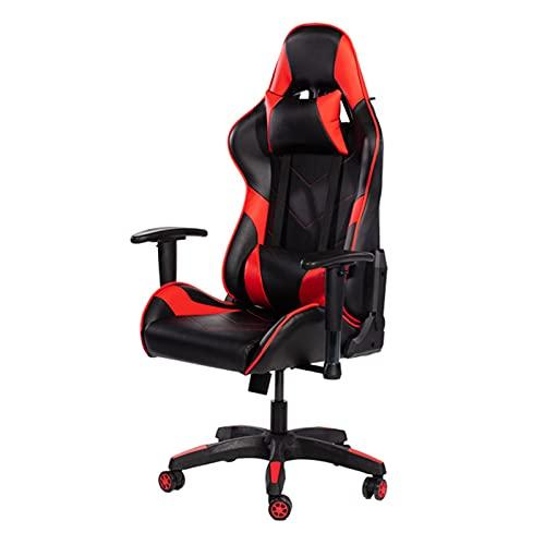 JKLOVE - Sedia da ufficio per videogiochi con poggiatesta e supporto lombare per adulti e ragazzi, colore: rosso