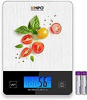 Nuova Digitale Professionale Bilancia da Cucina EMPO® Bilancia Alimentare in Vetro Temperato - Bilancia Elettronica da...