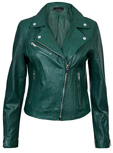 Infinity Leather Damen Grün Lederjacke Klassische Bikerjacke Aus Echtem Leder L