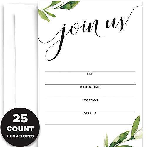 25 Party Invitations with Envelopes | Blank Paper Invites with Watercolor Greenery | Great for Weddings, Graduation, Couples Showers, Rehearsal Dinners, Anniversaries, Special Events, Fundraisers