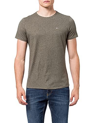 Tommy Jeans TJM Slim Jaspe C Neck Camiseta, Oliva Oscuro Htr, M para Hombre