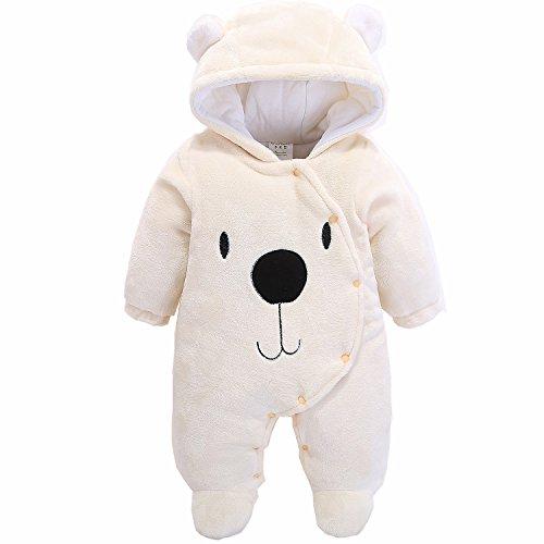 Morbuy Jumpsuit Bebé Unisexo Bebé Recién Nacido Franela Mameluco Invierno Ropa Una Pieza Pijamas Monos Caricatura Trajes (66, Oso Beige)