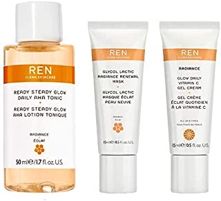 REN Clean Skincare Glow on the Go Travel 3-Piece Kit ($40 Value) Includes Travel-Size Ready Steady Glow Tonic, Glow Daily ...