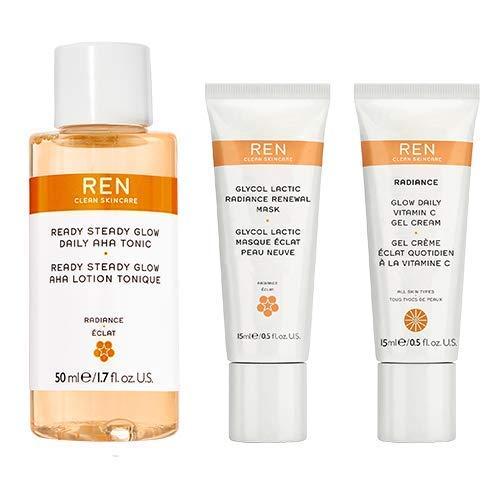 REN Clean Skincare Glow on the Go Travel 3-Piece Kit ($40 Value) Includes Travel-Size Ready Steady Glow Tonic, Glow Daily Vitamin C Gel Cream & Glycol Lactic Radiance Renewal Mask