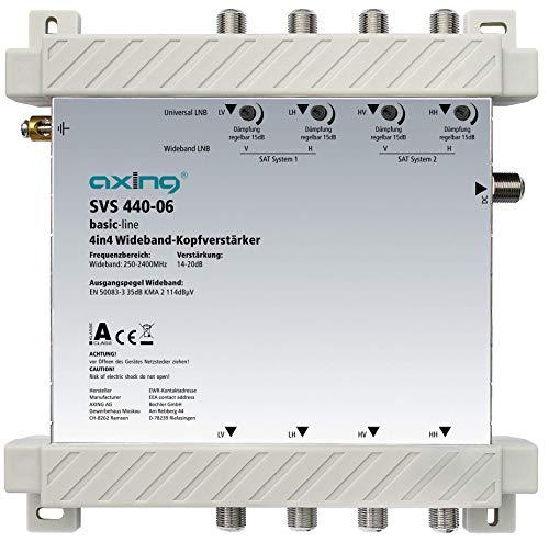 Axing SVS 440-06 - Amplificador de Cabeza para 2 LNB de Banda Ancha (20 dB, 4 en 4, 250-2400 MHz)