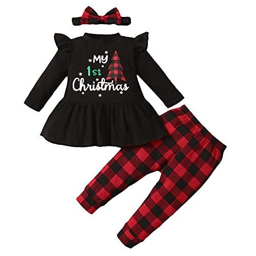 3-18 Months Infant Xmas Clothing Sets Baby Girls Christmas Cartoon Santa Letter Printed Ruffles Tops+Pants Outfits Black