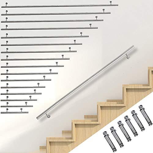 Melko Handlauf Edelstahl V2A Wandhandlauf 100cm Treppengeländer und Rundhandlauf inkl. Wandhalterung und Endkappen