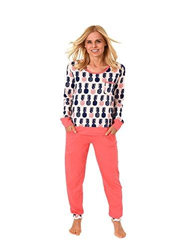 Damen Pyjama Langarm mit Bündchen Schlafanzug mit coolen Ananas Motiv 62717, Farbe:rosa, Größe2:36/38