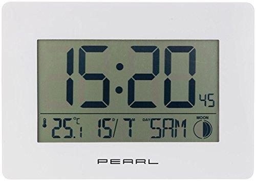 PEARL Digitale Funkwanduhr: Funk-Wanduhr mit Jumbo-Uhrzeit, Temperatur- & Datums-Anzeige, weiß (LCD Wanduhr groß)