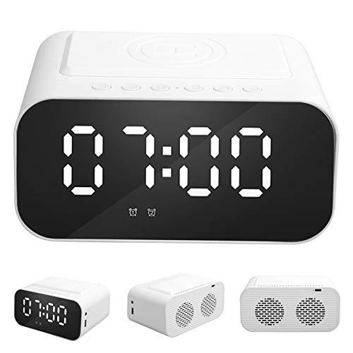 Plyisty Altavoz Bluetooth con Luces nocturnas con Cargador de inducción inalámbrico rápido de 5 W, Reloj Despertador Digital con LED de Tiempo, Soporte AUX/FM(Blanco)