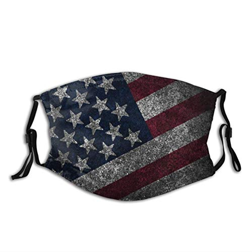 American Flag Face Mask Mouth Cover, with Filter Reusable Unisex Neck Gaiter Washable Bandana Balaclava, for Sports Outdoor