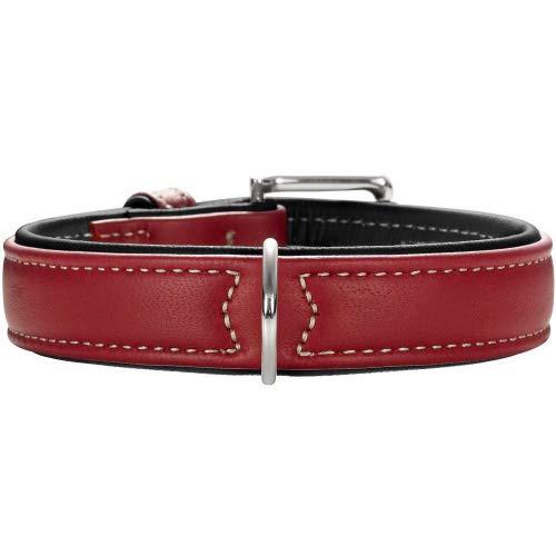 HUNTER Canadian Hundehalsband, Leder, hochwertig, weich, 35 (XS-S), Chili/schwarz