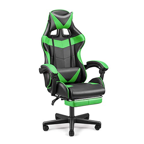 SOONTRANS Gaming Chair, Computer Chair for Adults Teens, Video Game Chairs with Footrest, Racing Style Office Chair with Headrest and Lumbar Pillow(Java Green)