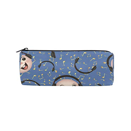 Students Pencil Case Emoticon Headphone Music Note Pen Bag Zipper Pouch Purse for Boys Girls