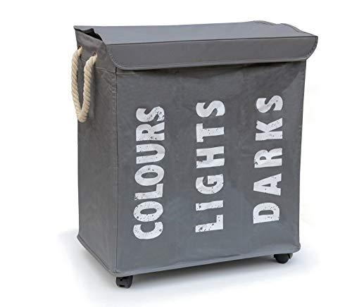 Hausratplus Cesto para la ropa sucia, con 3 compartimentos, con ruedas, color gris