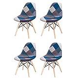 Lot de 4 Fauteuil Salon en Lin avec Chaise de Style Scandinave Meublé avec des fauteuils en Patchwork de Style Nordique (Bleu)