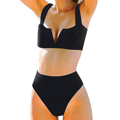 MOSHENGQI Women High Wasited Bikini Shoulder Strap 2 Piece, 59 Black, Size 6.0