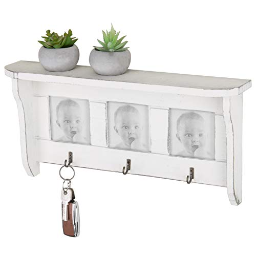 MyGift 16-Inch Vintage White Wood Wall-Mounted Display Shelf with 3 Picture Frames & 3 Key Hooks