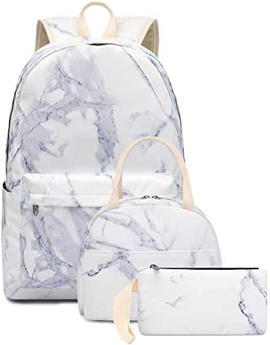 Bookbag School Backpack Girls Cute Schoolbag for 15 inch Laptop Marble backpack set product image