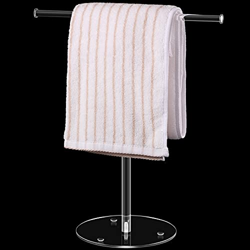 Porta Asciugamani Moderno in Acrilico Trasparente Portasciugamano Supporto Porta Asciugamani a Forma di T Scaffale da Appoggio Autoportante con Base Bilanciata per Bagno Cucina
