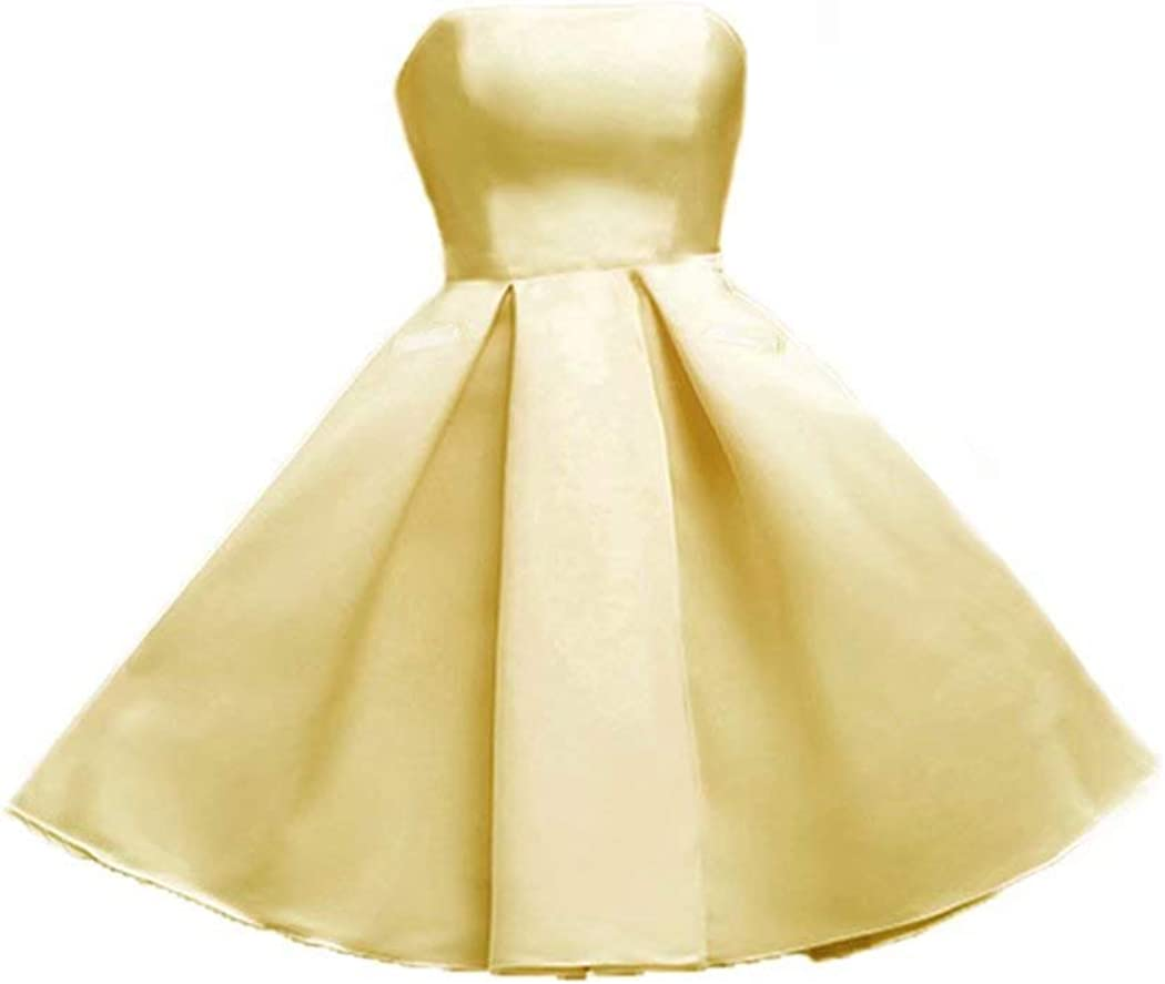 FTBY Strapless Satin Homecoming Dresses with Pockets Short Cocktail Prom Gowns Formal Junoirs