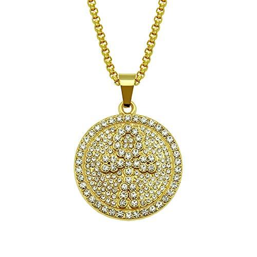 ZWJ Diamond Cross Hip Hop Necklace Ankh Key Hiphop Pendant Chain Accessories