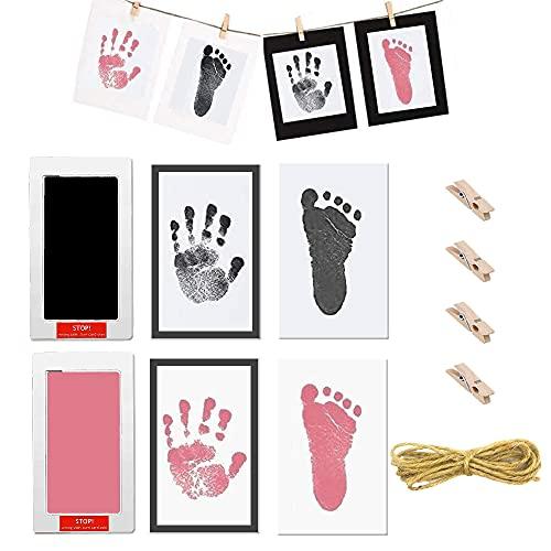 2 sets babyvoetafdruk en handafdruk inktpad, baby hand en voet afdrukken wegwerp inkt Souvenir, wordt geleverd met 1…