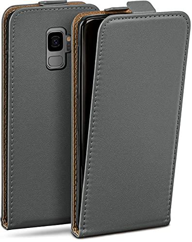 moex Flip Hülle für Samsung Galaxy S9 Hülle klappbar, 360 Grad R&um Komplett-Schutz, Klapphülle aus Vegan Leder, Handytasche mit vertikaler Klappe, magnetisch - Grau