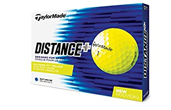 TaylorMade 2018 Distance+ Golf Ball Yellow  One Dozen  Large