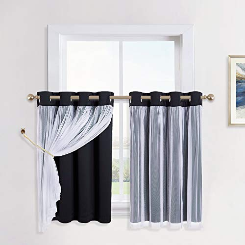 PONY DANCE Black Kitchen Curtains - Short Layered Curtains Sheer Blackout Valances Matching with Drapes Window Curtain Panels for Bathroom (52 inch Width x 36 inch Length, One Pair)