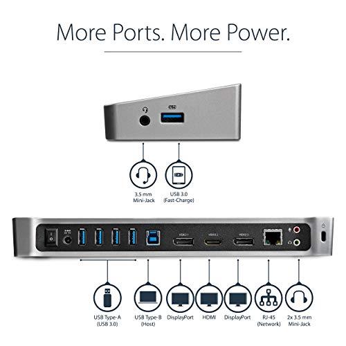 StarTech.com USB3DOCKH2DP USB 3.0 Docking Station (Triple-Video Laptop Dockingstation, 2X DisplayPort und HDMI oder 4K Ultra HD) & Amazon Basics HL-007262 Verbindungskabel, DisplayPort auf HDMI,0,9m
