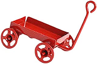 Timeless Minis - Miniature Red Toy Wagon with Red Wheels- 1.1875 x .6875 inches