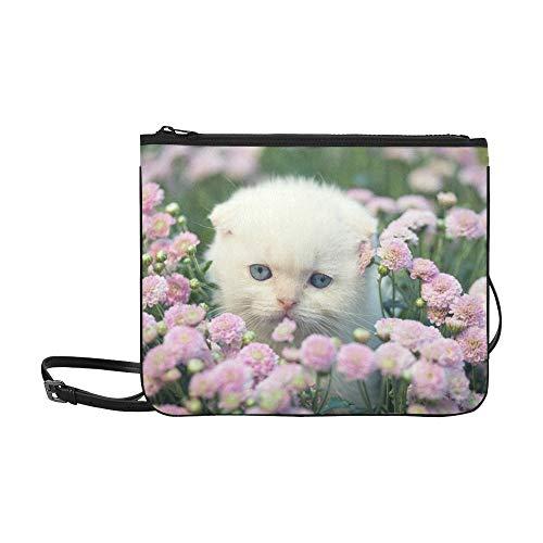 WYYWCY Nettes kleines Kätzchen, das Blumen auf kundenspezifischem hochwertigem Nylon dünner Clutch-Beutel-Kreuzkörper Beutel-Schulter-Beutel versteckt