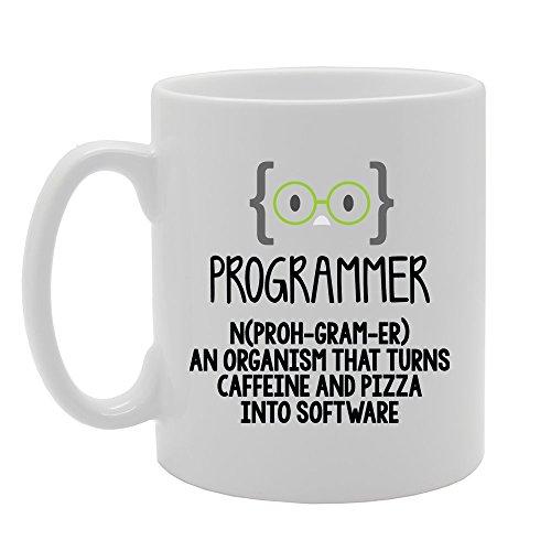 MG3855 Geeky - Programmeerdefinitie - Een organisme dat cafeïne en pizza verandert in software nieuwigheid Gift Gedrukte Thee Koffie Keramische Mok