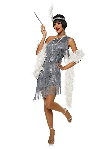 Dazzling Gun Metal Flapper Adult Costume Size Medium