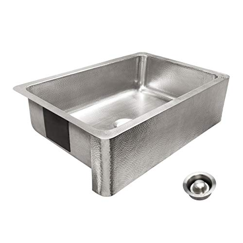 Sinkology SK701-33HSB-AMZ-D Percy Farmhouse 32 in. Single Bowl Brushed and Disposal Drain Crafted Stainless Steel Kitchen Sink