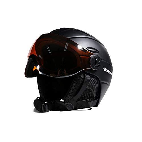 Ski Snowboard Helmet 2-in-1 Visor Detachable Snow Mask Anti-Fog Anti-UV Integrated Goggle Shield Low Weight Adults Men Women