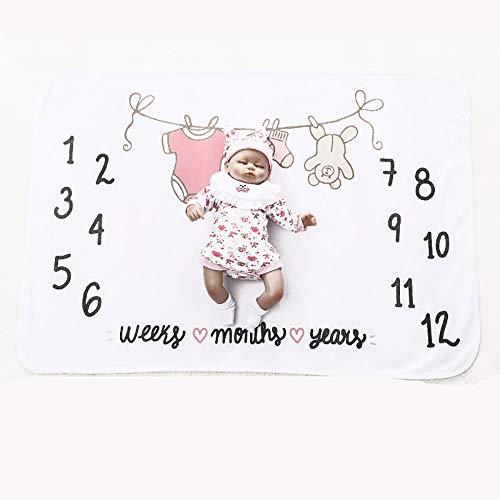 FZ FUTURE Nouveau née Couverture de Props de Photographie, Baby Props imprimé Coton Mensuel Milestone Wrap Swaddle Couvertures, Cadeau de Shower de bébé,Clothes