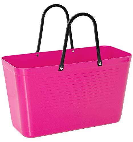 Hinza Kunststofftasche Tasche groß 15 L pink mit Henkel 41,5x44x18cm Kunststoff Shopper Plastik Tragetasche Shoppingbag Einkaufstasche Einkaufskorb BPA-frei stapelbar Swedish Design