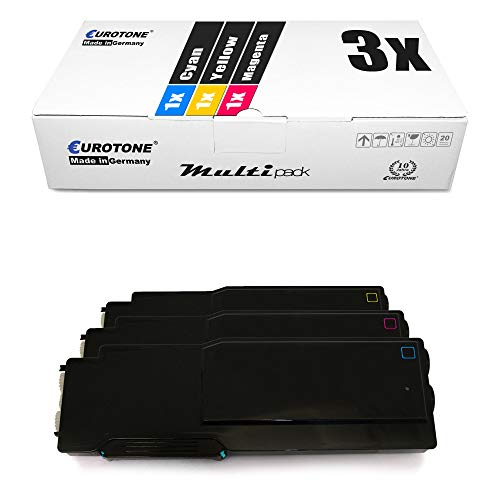 3x Eurotone Toner for Dell C 3760 3765 wie 593-11120 - 593-11122 Color Blue Red Yellow