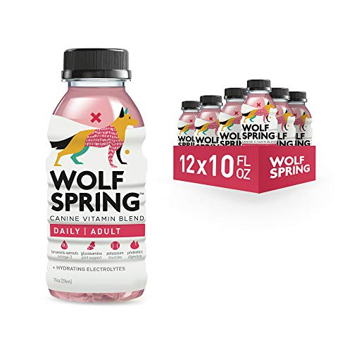 Wolf Spring All-Natural Functional Treat for Adult Dogs, 100% Plant-Based Dog Multi-Vitamin Drink, Skin and Coat Treat for Dogs with Electrolytes Water, Adult Dog Joint Supplements, 10oz, Pack of 12