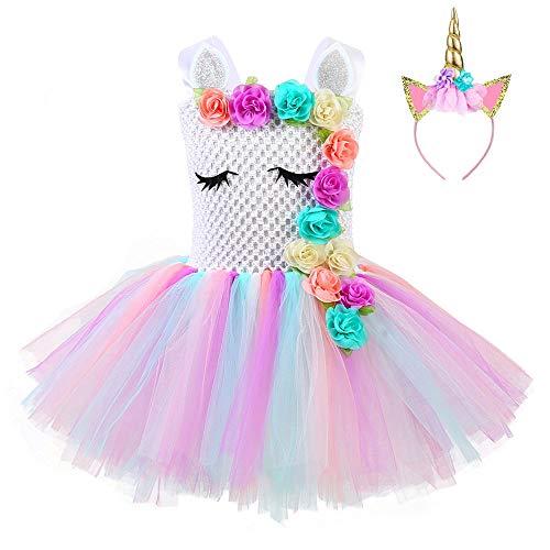 Fonlam Vestido de Bautizo Fiesta Disfraz de Unicornio Princesa, Niña, Multicolor (Flores), 5-6 Años